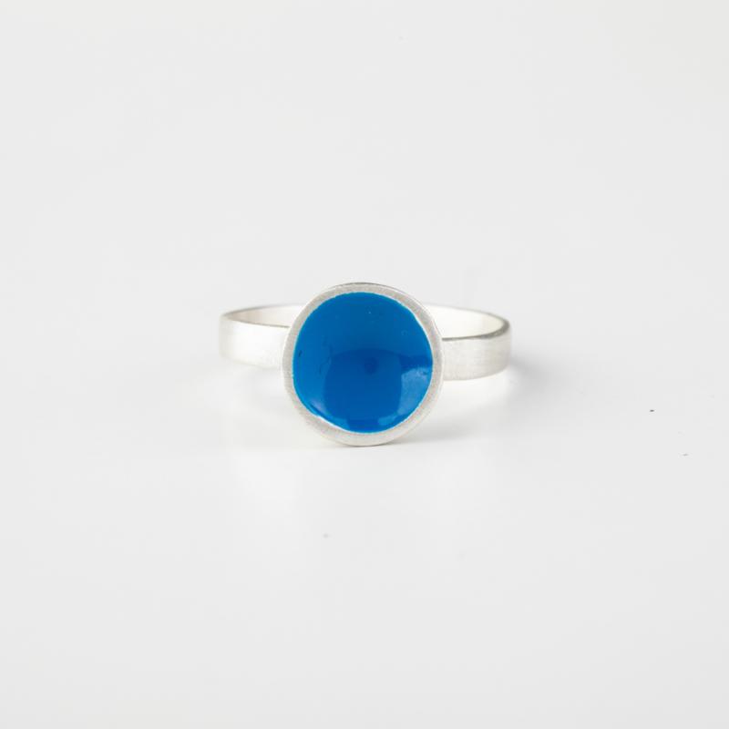 Circle Silver and Enamel Ring