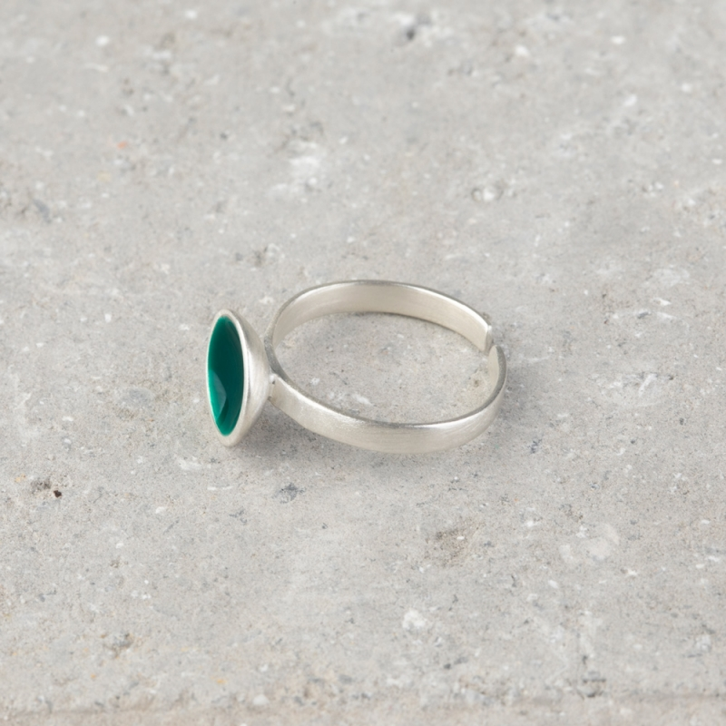 Circle Silver and Enamel Ring
