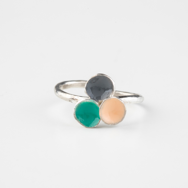 Three Tone Enamel and Silver Ring