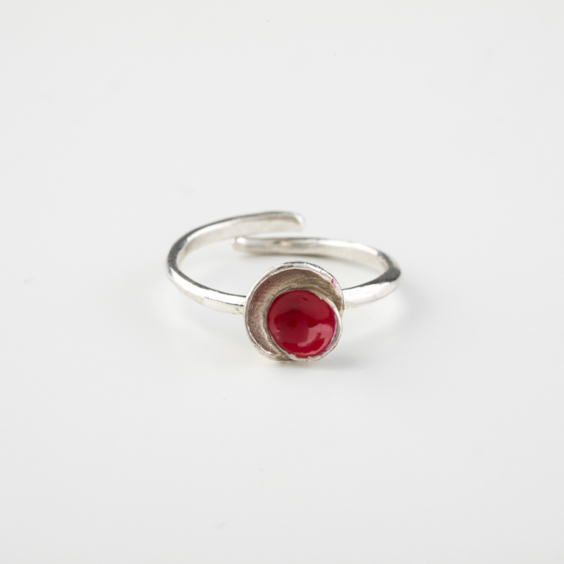 Touch of Enamel Silver Ring