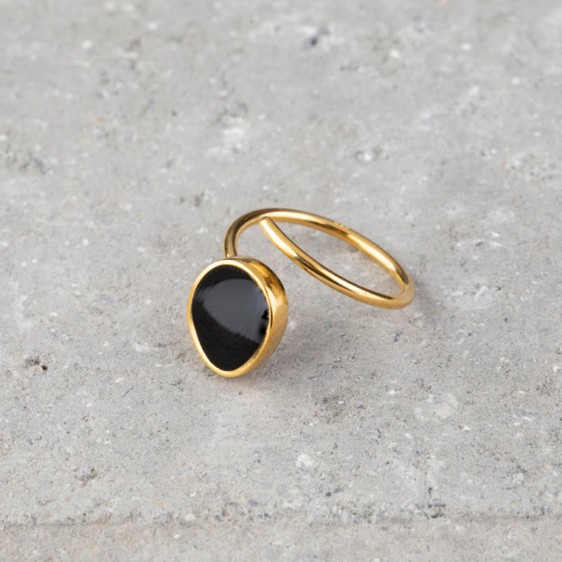 Gold and Enamel Wrap Ring