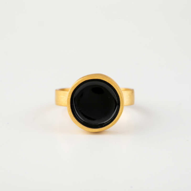 Circle Gold Ring with Enamel