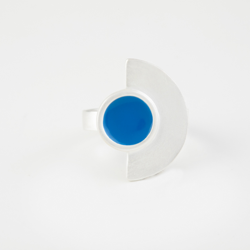 Semi Circle Silver Ring with Enamel