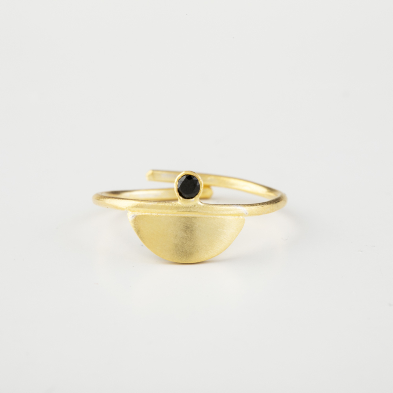 Gold Ring with Black Zircon Gemstone