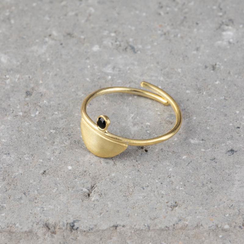 Gold Ring with Black Zircon Gemstone