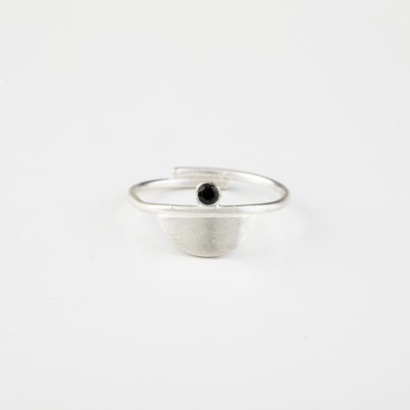 Silver Ring with Black Zircon Gemstone