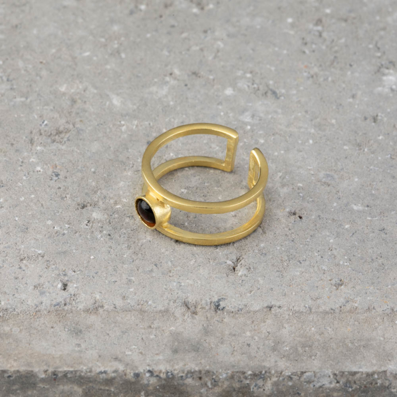 Gold Double Band Ring with Gemstone