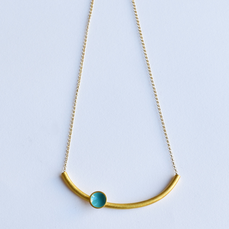 Gold Bar Necklace with Enamel