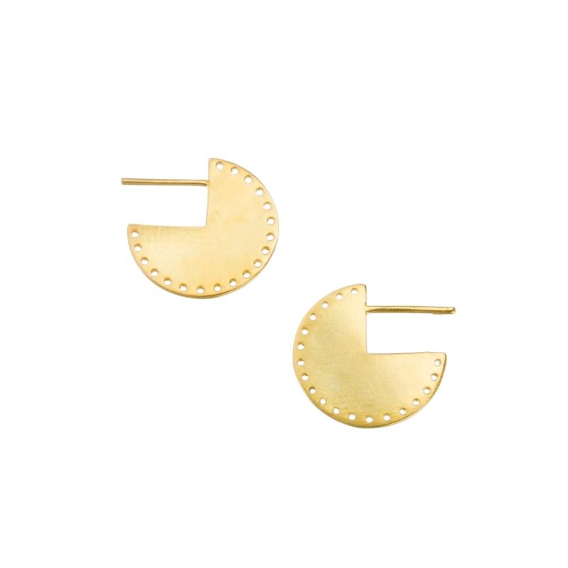 Gold Half Hoop Disc Studs