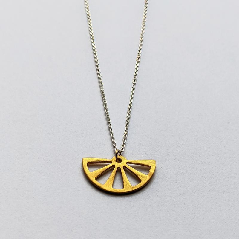 Two Tone Fan Necklace